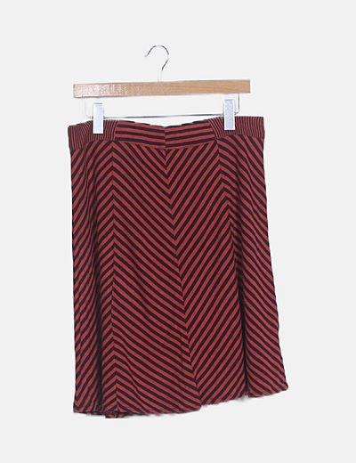Falda midi roja de rayas