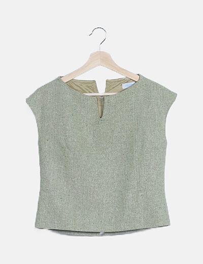 Conjunto falda midi y blusa verde jaspeado