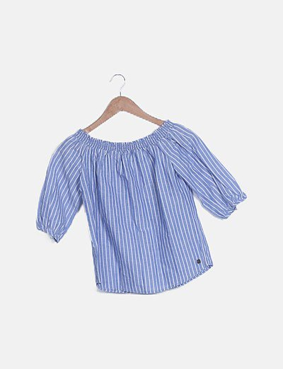 Camiseta bardot azul raya