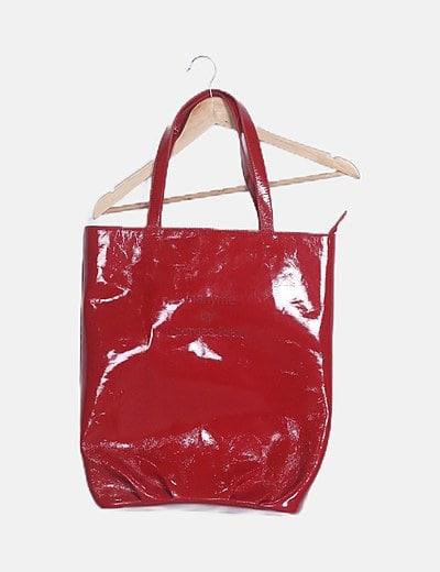 Bolso Shopper maxi rojo charol