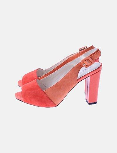 Sandalia peep toes bicolor