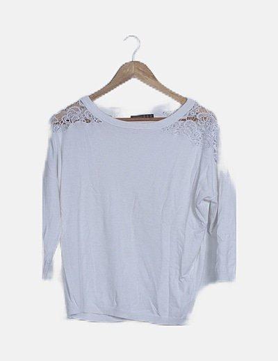 Jersey crochet combinado blanco