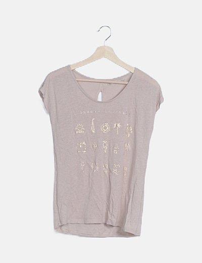 Camiseta nude print dorado