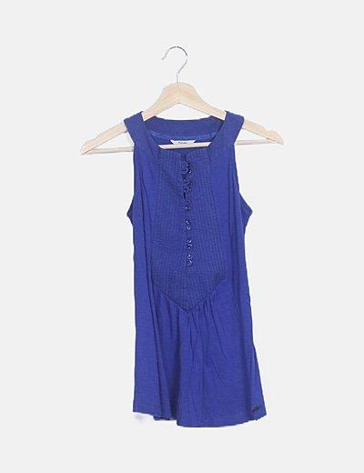 Blusa plisada azul