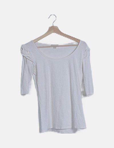Camiseta blanca abullonada manga francesa