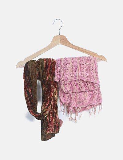 Pack bufanda y pañuelo texturizado