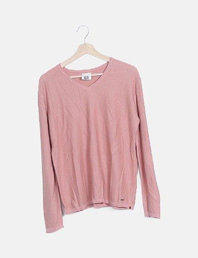 Jersey texturizado escote pico rosa