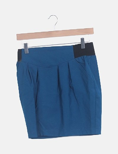 Falda mini pinzas azul petróleo