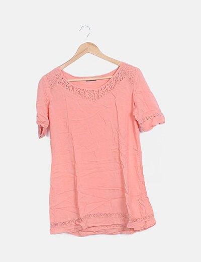 Camiseta guipur coral