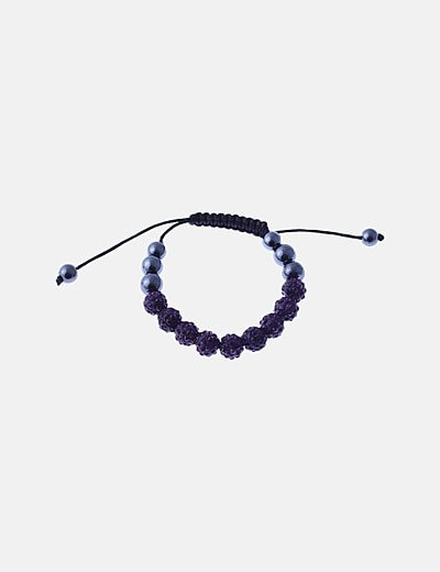 Pulsera cuerda perlas brillante morado