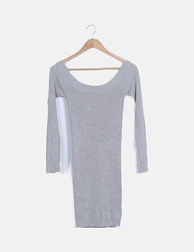 Vestido gris canalé manga larga cuello barco