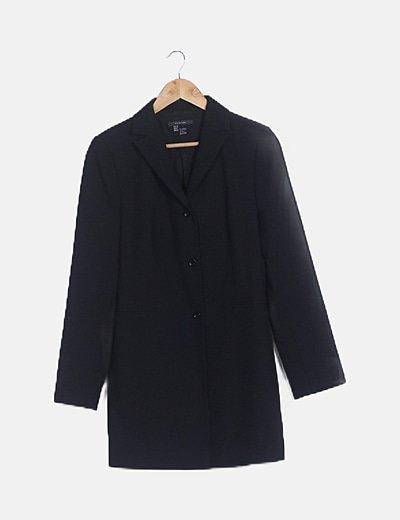 Blazer larga negra manga larga