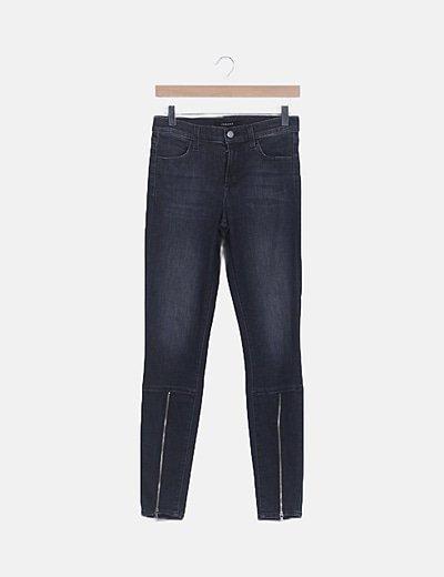 Jeans denim gris cremallera