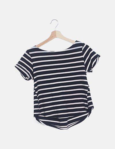 Camiseta rayas marineras espalda lace up