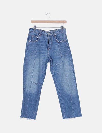 Jeans denim recto desflecado