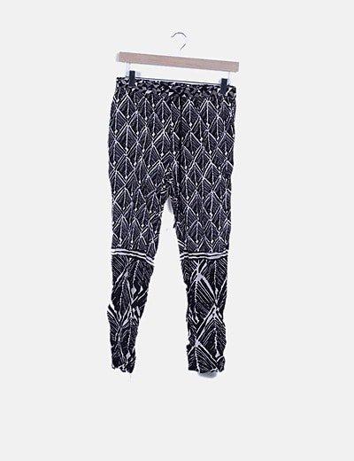 Pantalón fluido print bicolor