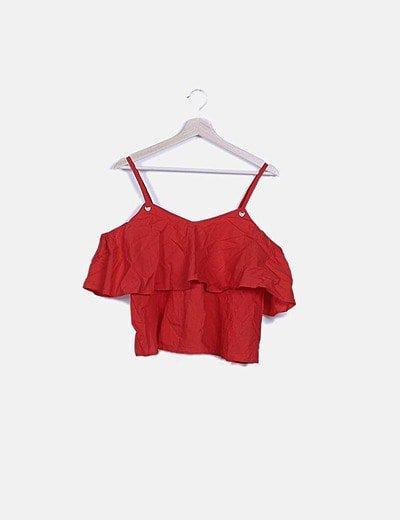 Blusa roja hombros descubiertos