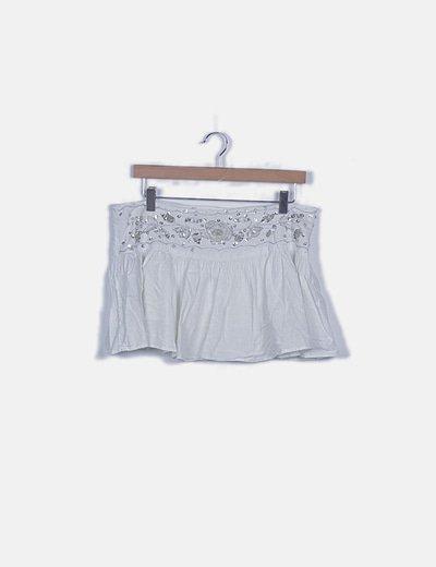 Mini falda lentejuelas blanco