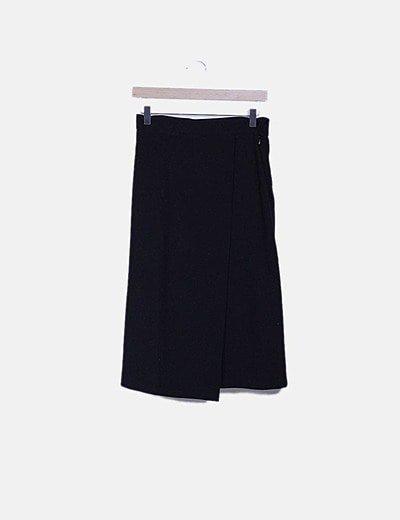 Falda midi negra cruzada