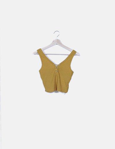 Crop top amarillo lace up