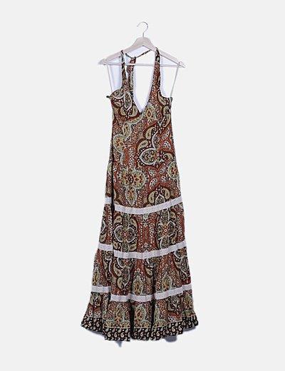 Vestido marrón estampado floral