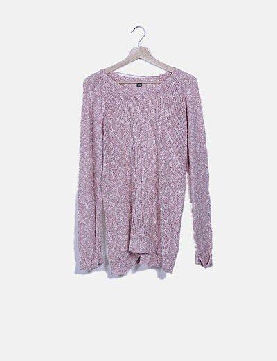 Jersey tricot rosa troquelado