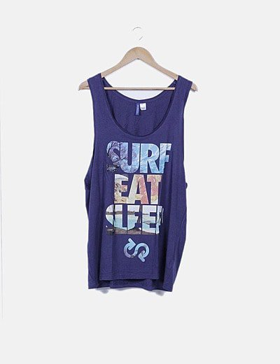 Camiseta azul marino sin mangas print combinado