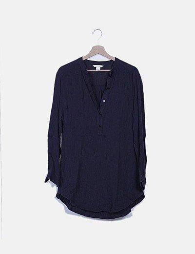 Vestido azul marino texturizado