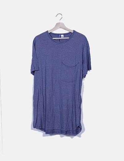 Blusa azul de rayas detalle bolsillo
