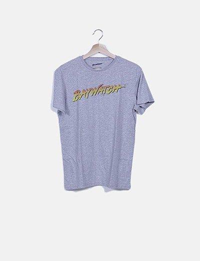 Camiseta gris jaspeada print logo