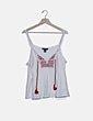 Blusa de tirantes blanca jaspeada bordado étnico Primark