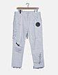 Pantalón denim blanco desflecado detalle patchwork Zara
