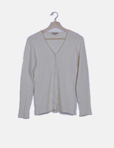 Chaqueta tricot beige manga larga