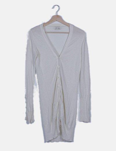 Chaqueta larga tricot blanca botones