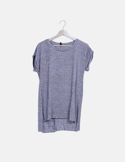 Blusa larga gris jaspeado detalle strass