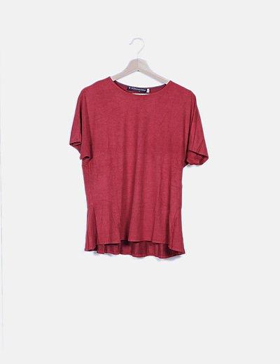 Blusa roja antelina manga corta