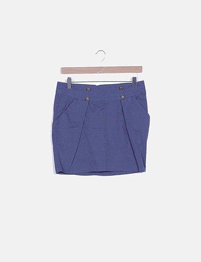 Falda azul marino botones