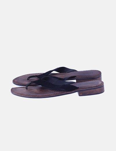 Sandalie de piel negra