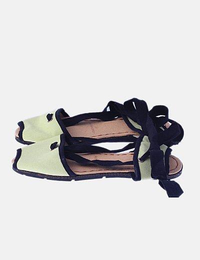 Sandalia plana verde lima lazada tobillo