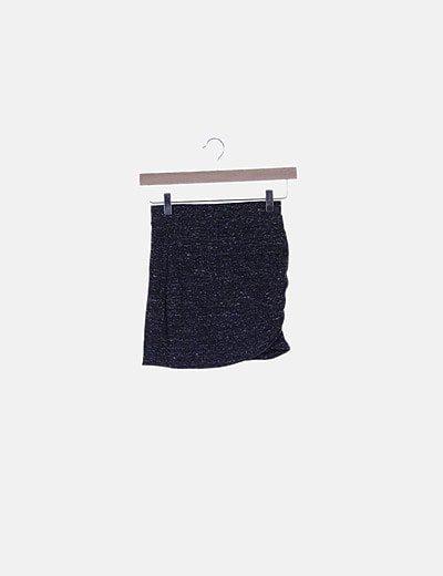 Falda mini jaspeada gris marengo