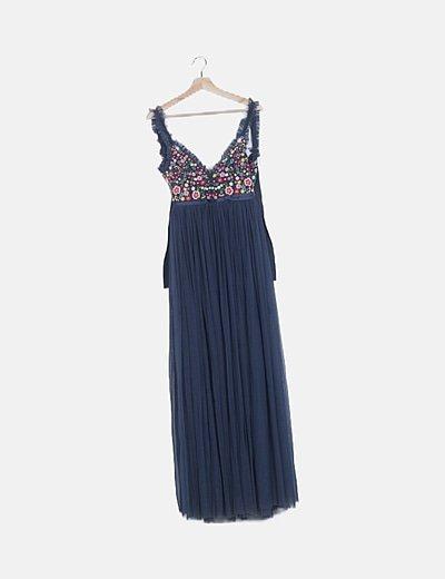 Vestido tul azul bordado floral