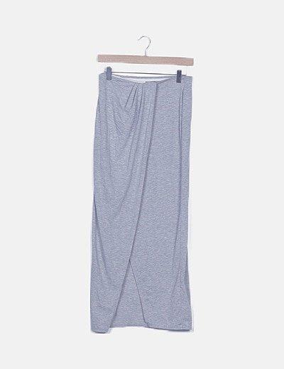 Falda larga gris abertura