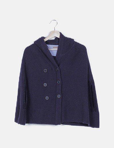 Poncho azul marino con capucha