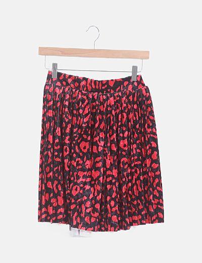 Falda terciopelo negra y roja animal print