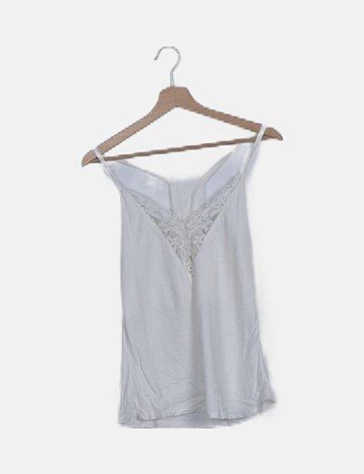 Blusa blanca combinada encaje