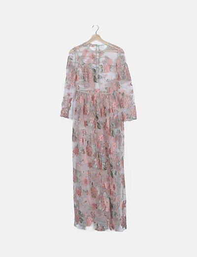 Vestido tul floral bordado con forro