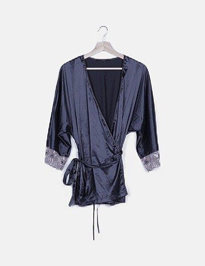 Kimono lencero azul marino