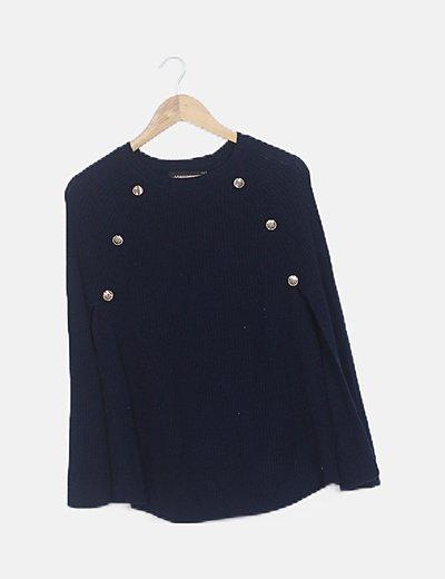 Poncho lana navy
