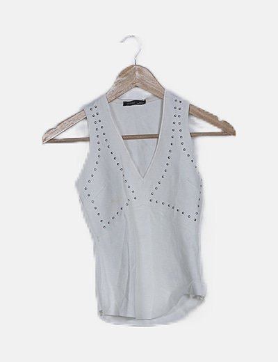 Blusa blanca detalle strass