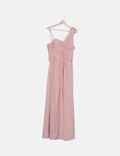 Vestido de fiesta rosa vaporoso